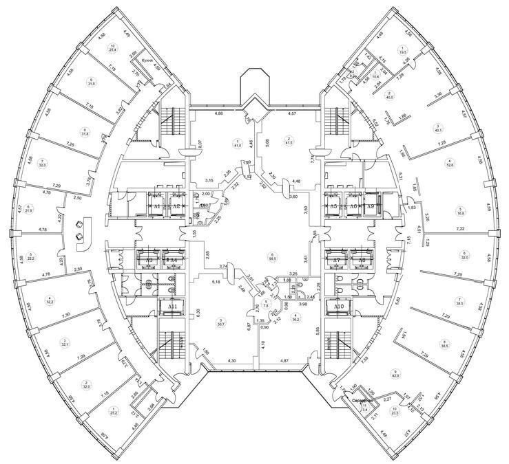 План офиса 1200 кв.м Башня 2000