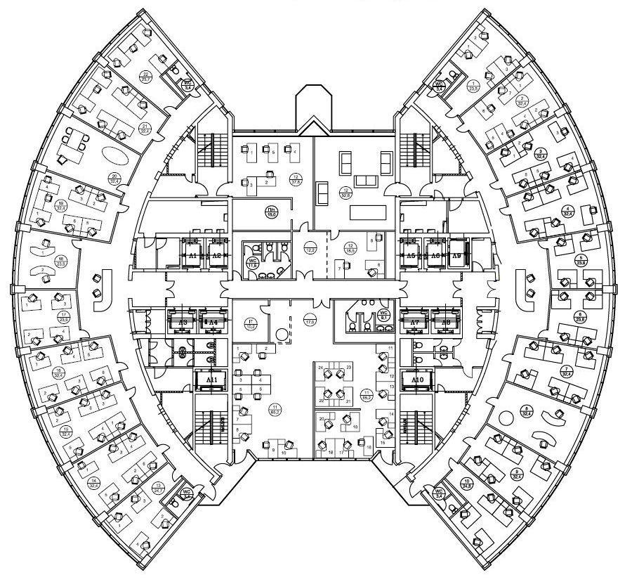 План офиса 1265 кв.м Башня 2000