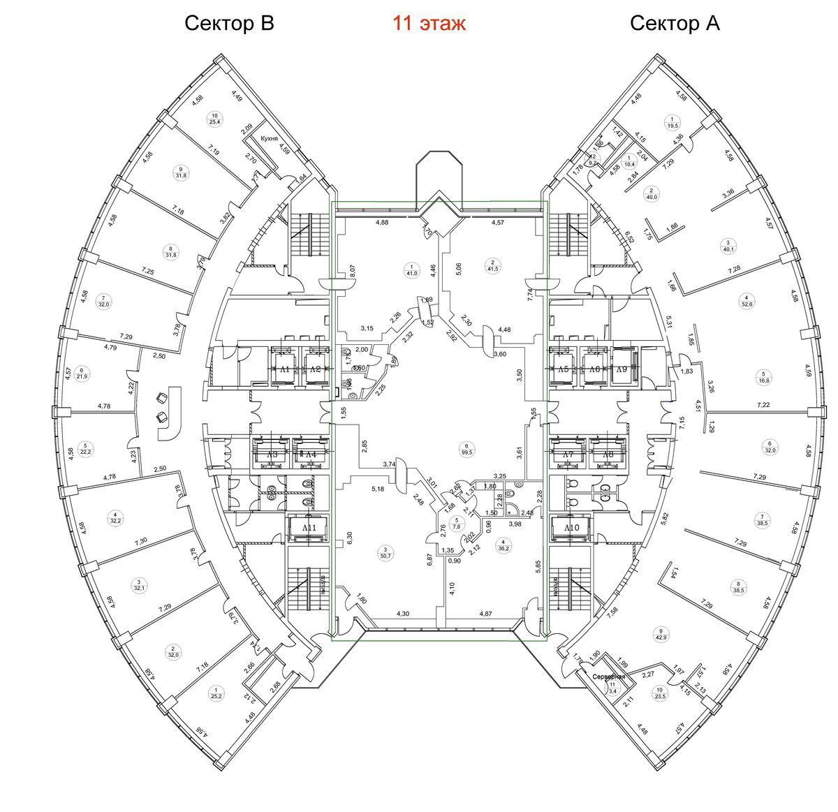 План офиса 350 кв.м Башня 2000
