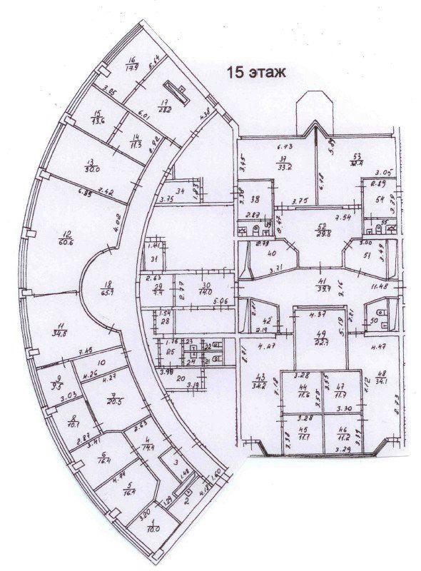 План офиса 756 кв.м Башня 2000